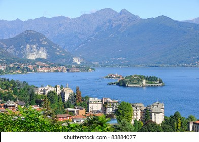 Scenic view on beautiful Lake Maggiore among the mountains, Italy