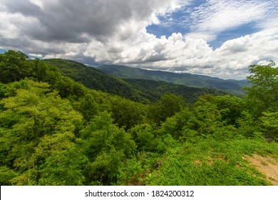Scenic View On The Cherohala Skyway. Vast wilderness and forest on the Cherohala Skyway. The drive winds through the Appalachians of the Nantahala and Cherokee National Forest.