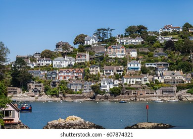Scenic view on city of Dartmouth from the bay, Devon, UK