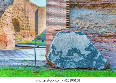 Scenic view on detail of mosaic decor in the Ancient Roman Baths of Caracalla ( Thermae Antoninianae ) at sunny day.Famous architectural landmark built between AD 212 and 217. Rome. Italy. Europe.
