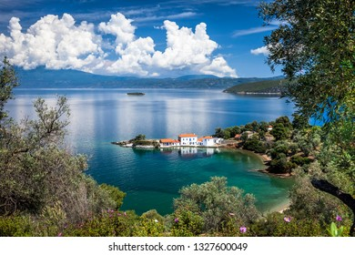 Scenic view on the greek peninsula Pilion,with mountains,a blue sky and a blue sea