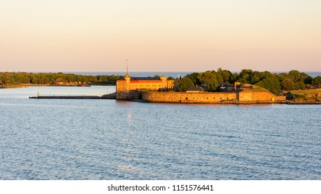 Scenic view on Kungsholms Fort (coastal artillery fortress for control of Karlskrona harbour) on the island in the Baltic Sea near Karlskrona, Sweden.