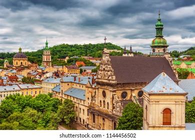 Scenic view on Lviv historical city center, Ukraine, Western Ukraine