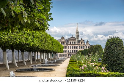 Scenic view on the Mont des Arts Garden in Brussels, Belgium