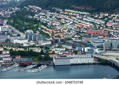 scenic view on northern European city Bergen in Norway.
