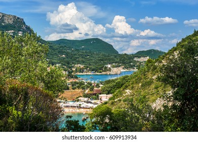 Scenic view on Paleokastritsa bay in Corfu, Greece.