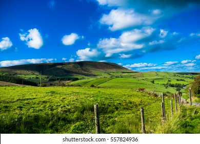 Scenic view on Pendle Hill, summer, blue sky and white clouds, Forest Of Bowland, Lancashire, England, UK