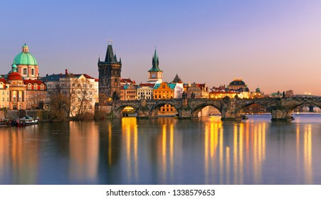 Scenic view on Prague old town and Charles bridge, Czech Republic
