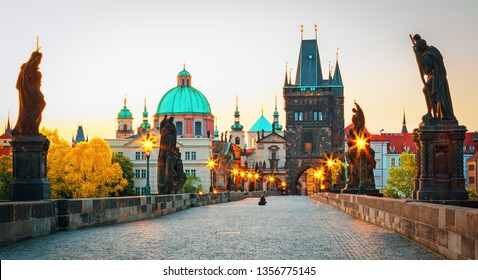 Scenic view on Prague old town and iconic Charles bridge, Czech Republic