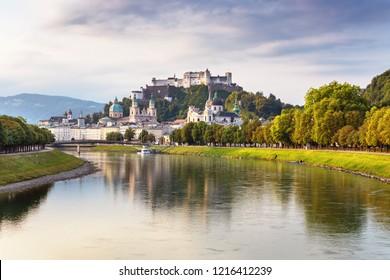 Scenic view on Salzburg skyline with Festung Hohensalzburg in the summer, Salzburg, Austria