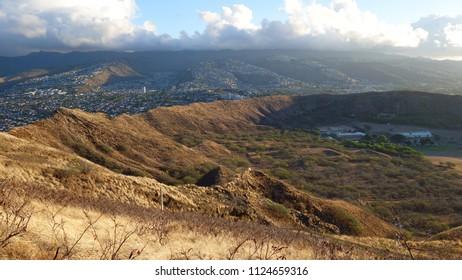 Scenic view on sunrise Honolulu from Diamond Head cone in Oahu (HI, USA)