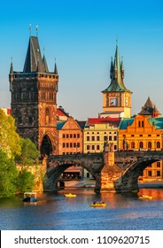 Scenic view on Vltava river and historical center of Prague,buildings and landmarks of old town, Prague, Czech Republic