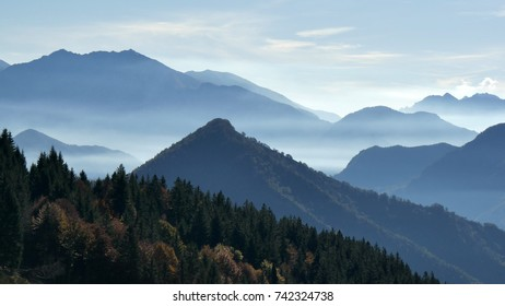 a scenic view of the Orobie mountains, Lombardy, Italy in an autumn day
