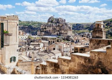 Scenic view over Church of Santa Maria de Idris in Matera's Sasso Caveoso and Murgia National Park, Basilicata, Italy