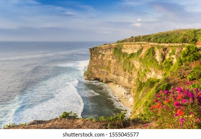 Scenic view over the cliffs from the Ulu Watu Temple on Bali, Indonesia