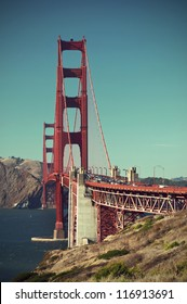 scenic view over the Golden Gate Bridge, vintage style, San Francisco, California, USA,