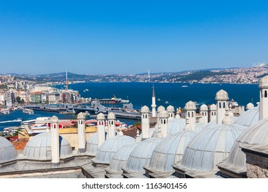 The scenic view over Istanbul city and Bosphorus strait, Turkey