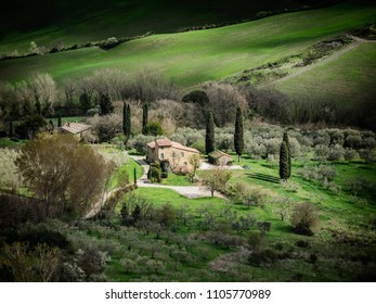 Scenic view over the landscapes from the walls of Montepulciano, Tuscany Italy