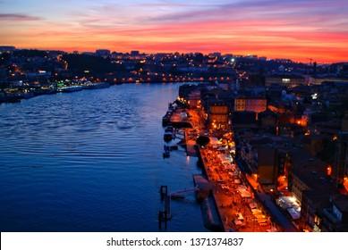Scenic view over Luis I bridge in Oporto, Portugal