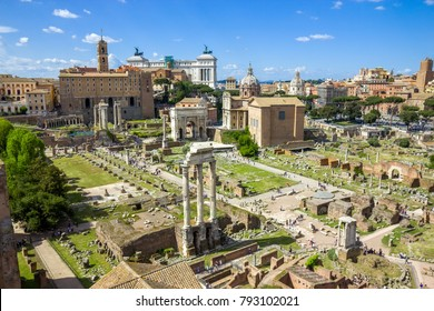 Scenic view over the ruins of the Roman Forum in Rome, Italy