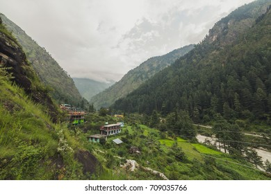 A scenic view of Parvati Valley from Kasol, Himachal Pradesh.