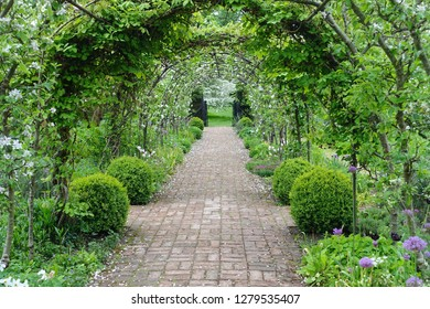 Scenic View of a Path with an Arched Trellis through a Beautiful Green Leafy Garden