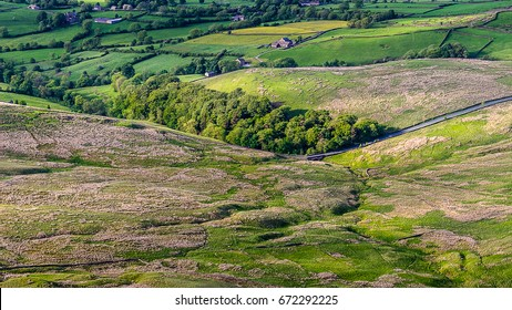 Scenic view from Pendle Hill, countryside on springtime in Forest of Bowland, Lancashire, England UK