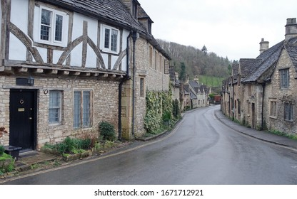A Scenic View of Picturesque Houses on a Street in an English Village - Namely Castle Combe in Wiltshire England