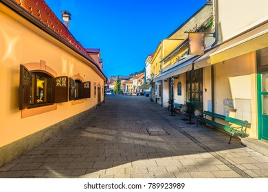 Scenic view at picturesque old streets in Samobor town, Northern Croatia.