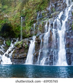 Scenic view of picturesque waterfalls on river Langevin, Reunion Island.