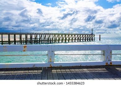 Scenic view from a pier in Blankenberge, Atlantic ocean, Belgium