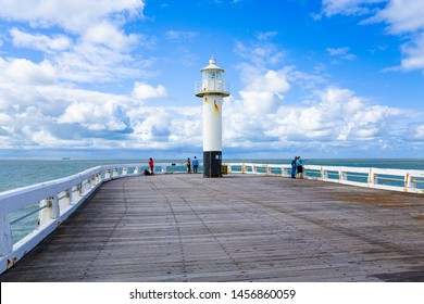 Scenic view from a pier in Blankenberge, Flanders, Belgium, 07-15-2019