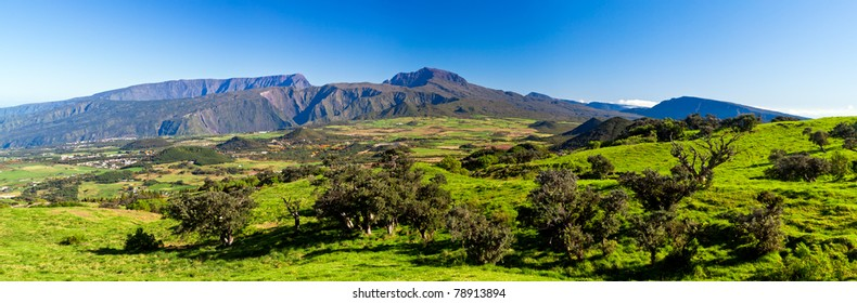 Scenic view of Plaine des Cafres plateau with Piton des Neiges massif in background, Reunion Island