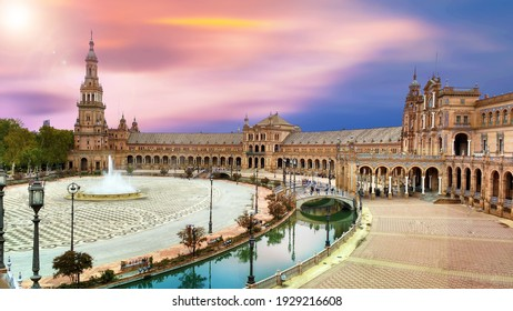 scenic view of Plaza de España The Plaza de España is a plaza in the Parque de María Luisa, Historical landmark in Seville sunset, Spain