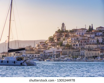 Scenic view from Poros island in a typical summer day in Greece at sunset. Poros island, Saronic gulf, Greece, Europe
