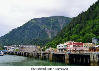 Scenic view of the port of cruise ship parking in Juneau. Alaska.