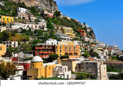 Scenic view of Positano, Mediterranean village on Amalfi Coast (Costiera Amalfitana) in Campania, Italy