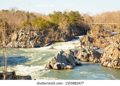 Scenic view of Potomac river in Virginia on sunny day in spring