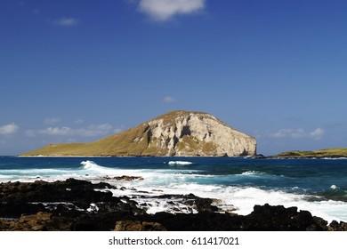 Scenic view of Rabbit Island, Oahu