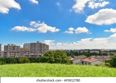 Scenic view of residential area in Tokyo suburb, Japan under the blue sky and clouds