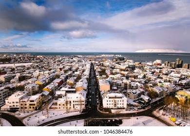 Scenic view of Reykjavik downtown, capital city of Iceland.