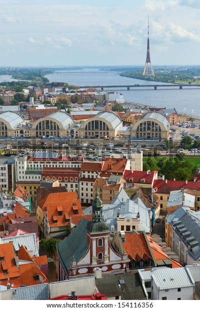 Scenic view of Riga from St. Peter's Church