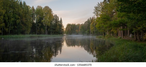 Scenic view of a river in autumn. Farnebofjarden national park in Sweden.