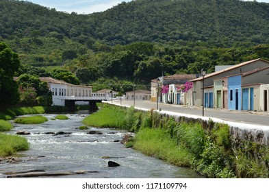 Scenic view of the river and houses in Cidade de Goias Brazil