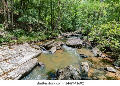 Scenic view up a rocky creek in a forest in Appalachia