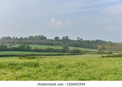 Scenic View of Rolling Countryside of Green Fields in Somerset England