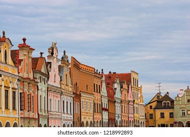 Scenic view of row of colorful houses in the main square of the city Telc. It is the main tourist attraction of the city. A UNESCO World Heritage Site. Telc, Southern Moravia, Czech Republic.