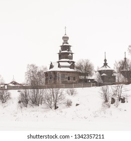 Scenic view of the Russian wooden church in Suzdal, Russia