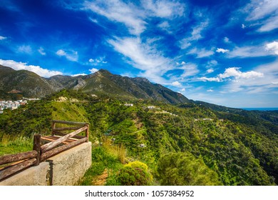 Scenic View With Rustic Fence on Sierra Blanca Mountains  in Malaga Spanish Province near Marbella