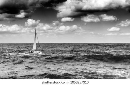 Scenic view of sailboat in ocean, Chania, Crete, Greece